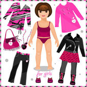 Paper doll with a set of fashion clothes.  — Vettoriale Stock