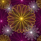 Seamless mönster med contour blommor — Stockvektor