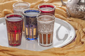 Decorated Moroccan tea glasses style — Stock Photo