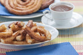 Churros with chocolate — 图库照片