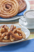 Churros with chocolate — Stockfoto