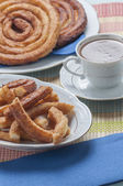 Churros with chocolate — Foto Stock