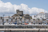 Harbor and castle — Stock Photo