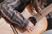 Girl playing guitar series 06 — Stockfoto