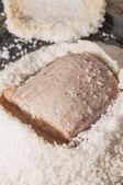 Pork tenderloin with salt series 05 — Stockfoto