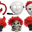 Pack of Various Halloween Costumes. Devil Girl, Jason Hockey Mask, Red Clown Wig and Ghost Mask on Isolated White Background — Stock Photo
