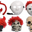 Pack of Various Halloween Costumes. Devil Girl, Jason Hockey Mask, Red Clown Wig, Ghost Mask and Skull on Isolated White Background — Stock Photo