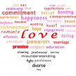 Conceptual words of love in a heart shape — Stockfoto