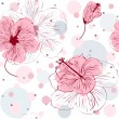 Seamless Pattern with Hand Drawn Hibiscus Flowers — Stock Vector