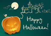 Halloween-landschaft mit kürbis — Stockvektor