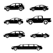Cars silhouettes vector collection — Stock Vector