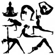 Vector silhouettes of yoga positions — Stock Vector