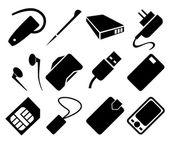 Mobiele telefoon accessoires pictogrammenset — Stockvector