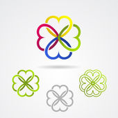 Clover leaf vector icon set — Vetor de Stock