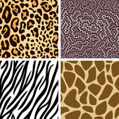 Animal skin seamless pattern collection — Stock Vector