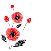Abstract vector background with a poppies — 图库矢量图片