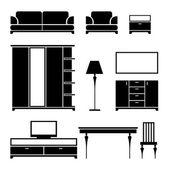 Furniture black silhouette on a white background — Stock vektor