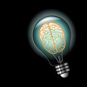 Bombilla de luz luminosa idea con cerebro dentro — Vector de stock