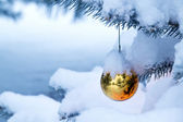 Bright Gold Ornament Hangs From Snow Covered Christmas Tree — Stock Photo