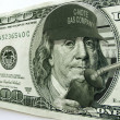 Ben Franklin on Hundred Dollar Bill Illustrates High Gas Prices — Foto Stock