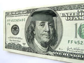 Ben Franklin Wearing Graduation Cap on One Hundred Dollar Bill — Stock Photo