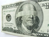 Blindfolded Ben Franklin One Hundred Dollar Bill Illustrates Economic Uncertainty — Stock Photo