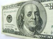Ben Franklin with Black Eye on One Hundred Dollar Bill. — Stock Photo