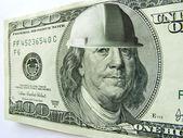 Ben Franklin One Hundred Dollar Bill Wearing Construction Hard Hat — Stock Photo