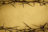 Thorns Against Parchement Paper Represent Jesus Dying on the Cross — Stock Photo