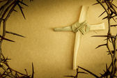 Easter Cross Of Palm Branch Surrounded By Crown Of Thorns — Stock Photo