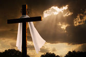 Dramatic Lighting on Christian Easter Cross As Storm Clouds Break — Stock Photo
