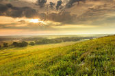 Dramatic Sunrise over the Kansas Tallgrass Prairie Preserve National Park — Stock Photo