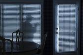 Silhouette of Burglar Sneeking Up To Backdoor At Night — ストック写真
