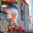 Stock Photo: Huge grain bin storage fire