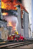 Huge grain bin storage fire — Stock Photo