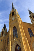 Gothic Style Catholic Church Steeples — Stockfoto