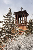 Catholic School Church Bell Tower and Cross — Stockfoto