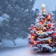 This Tree Glows Brightly On Snow Covered Foggy Christmas Morning — Stock Photo #35930183