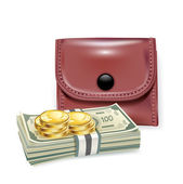 Leather wallet with money and coins — Stock Vector