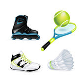 Inline skate, sport shoe and tennis racket — Stock Vector