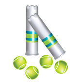 Set of tennis balls and containers isolated — Stock Vector