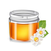 Single honey jar isolated on white  — Stock Vector