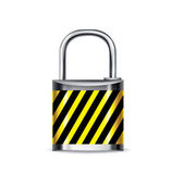 Lock with attention mark isolated — Stock Vector