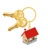 Key chain with house residence oncept — Vector de stock