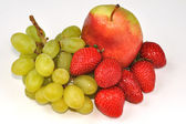 Pear with strawberries and grape — Stockfoto