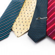 Tie, Tie-pin, Four ties of different colours  The blue tie with a tie pin  Shot on white background  — Stock Photo