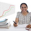 Happy and confident Business Woman with a Financial growth curve — Stockfoto