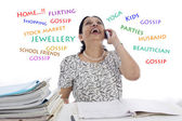Happy Businesswoman at Work talking and gossiping on phone. — Stock Photo
