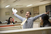 Happy Indian Businessman celebrating success. — Stock Photo