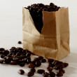 Grains of coffee in a paper bag — Stock Photo #46222605